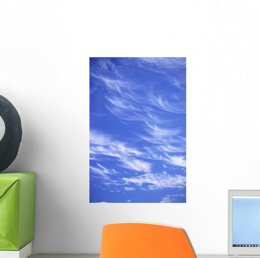 Blue Sky With Horse-Tail Wispy Clouds A35B Wall Mural
