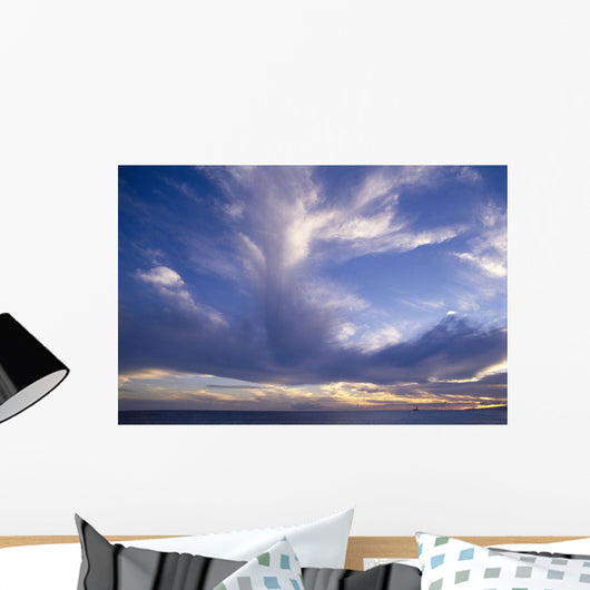 Blue-Lavender Cloud Formations Over Ocean A35H Wall Mural