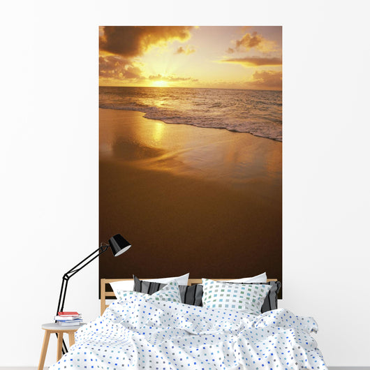 Hawaiian Sunset At Beach, Pastel Colors Wall Mural