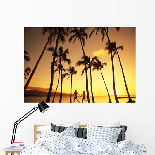 View Of Couple In Park By Beach Palm Trees, Golden Sunset Wall Mural