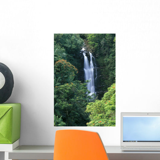 Waterfall Surrounded By Greenery A20H Wall Mural