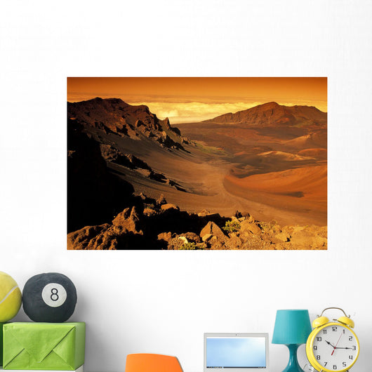 Hawaii, Maui, Golden Sunlight Over Haleakala Crater, National Park Wall Mural