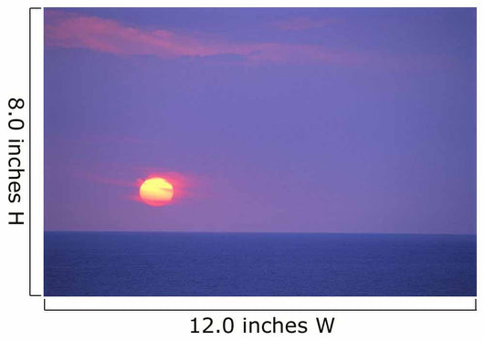 Sunset Over Calm Ocean, Sun Ball In Purple Sky, Vog Horizon A29G Wall Mural