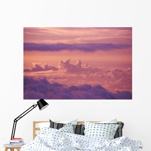 Hawaii, Maui, Haleakala, Pink And Purple Afternoon Cloud Formations Wall Mural