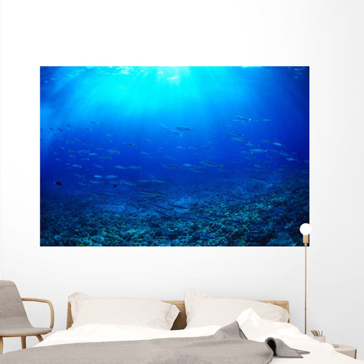 Hawaii, Mackerel Scad, Opelu School In Blue Ocean A84B Wall Mural