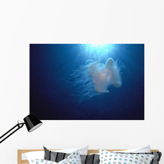 Midwater In Blue Ocean Backlit By Sunburst A88C Wall Mural