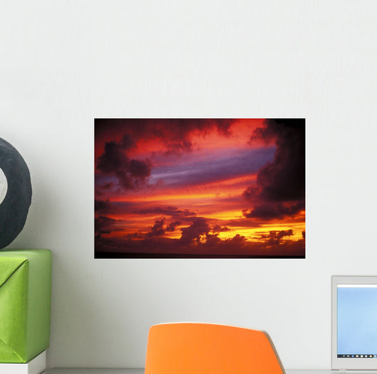Layers Of Beautiful Colors At Sunset, Pink, Purple, Yellow, Orange Wall Mural