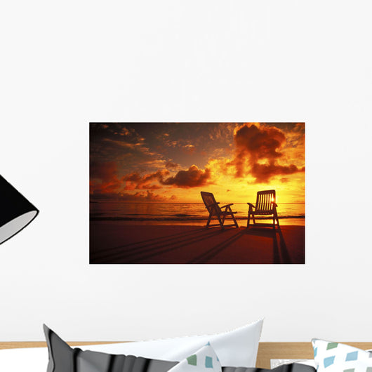 Beach Chairs Along Shoreline At Twilight, Amazing Sunset Wall Mural