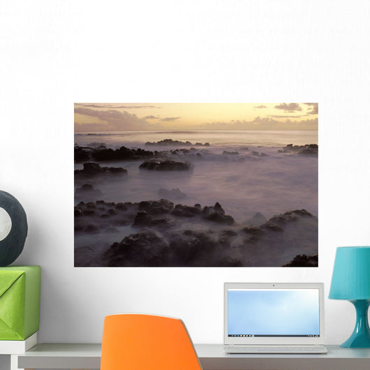 Lava Rocks In Foggy Layer Over Pale Sunrise Water Wall Mural