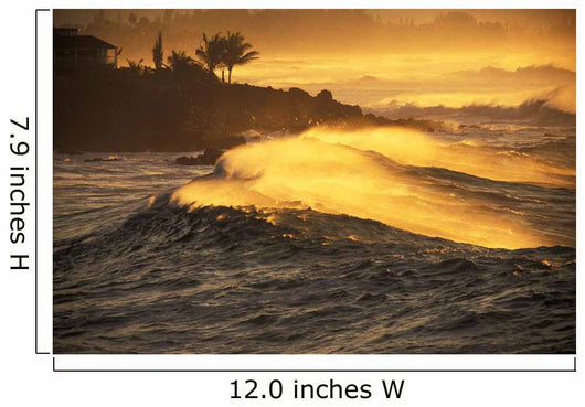 Hawaii, Oahu, North Shore, Sunset View Of Coastline Wall Mural