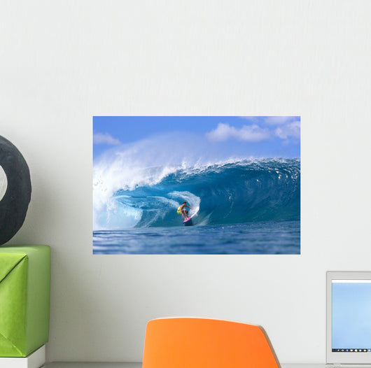 Hawaii, Oahu, North Shore, Pipeline Surfer Coming Out Of Wave, Curling Wall Mural