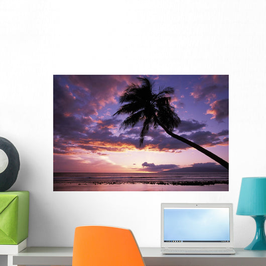 Purple Sunset With Lanai In Distance And Palm Silhouette Wall Mural