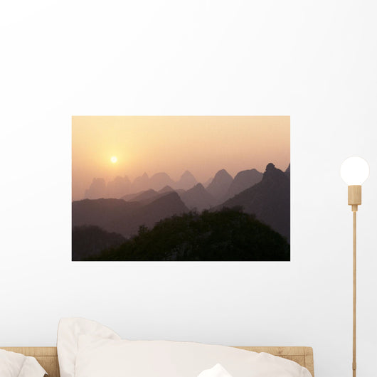 China, Guilin, Piled Silk Mountains, At Sunset, Orange Sky B1785 Wall Mural