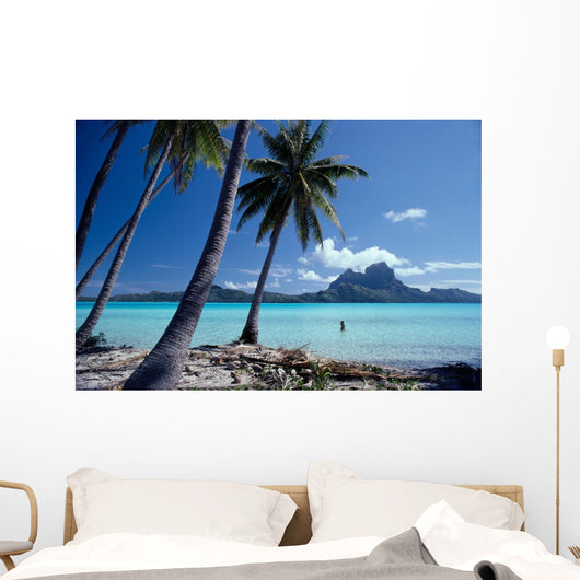 French Polynesia, Tahitian Coast Scene, Lovely Woman In Water Wall Mural