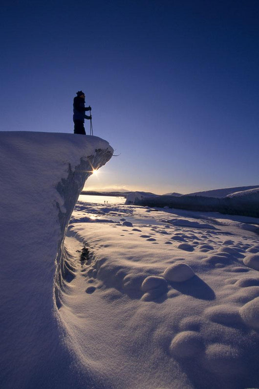 Nordic Skier Stands On Cliff At Sunset B1661 Wall Mural
