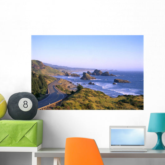 Highway 101 And Pistol River State Park From Cape Sebastian B1644 Wall Mural