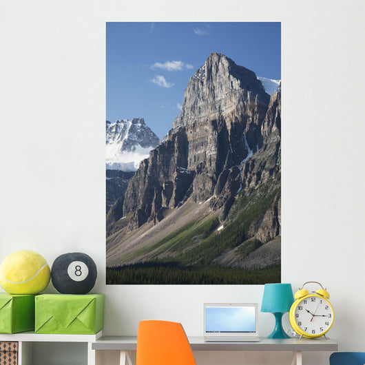 Mountain Peaks With Cliff Face And Blue Sky Wall Mural