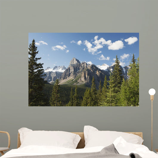 Mountain Vista With Cliff Face And Blue Sky And Clouds Wall Mural