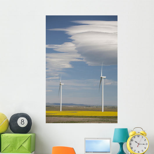 Dramatic Clouds With Blue Sky And Windmills Wall Mural