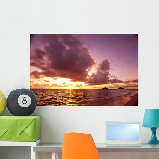 Hawaii, Oahu, Windward Coast, Mokulua Islands At Sunrise B1543 Wall Mural