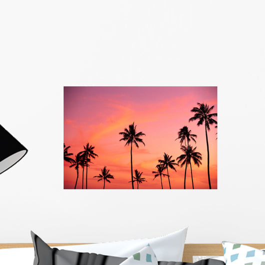 Palm Trees Silhouetted Against Hazy Orange Skies B1639 Wall Mural