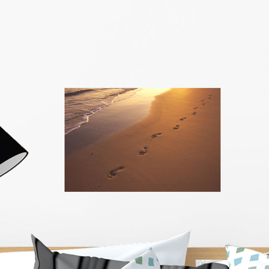 Footprints In Sand At Sunset, Shoreline Water B1452 Wall Mural