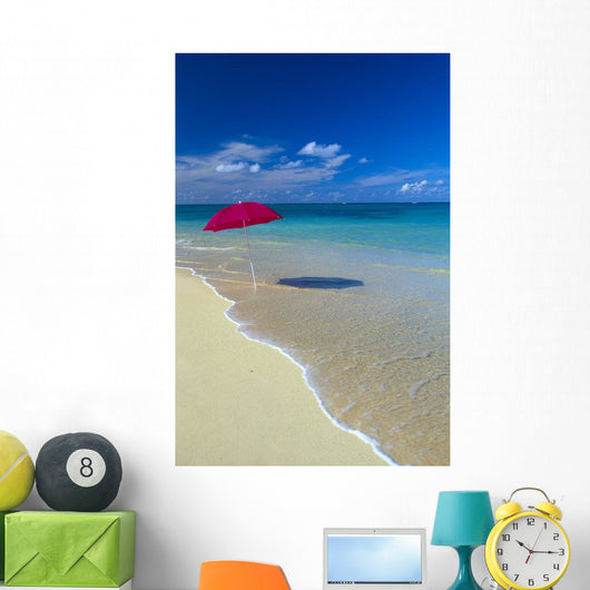 Red Beach Umbrella In Shoreline Waters, Clear Turquoise Water B1455 Wall Mural