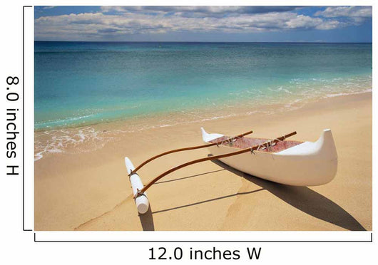 White Outrigger Canoe On Shoreline With Shadow, Calm Turquoise Water Wall Mural