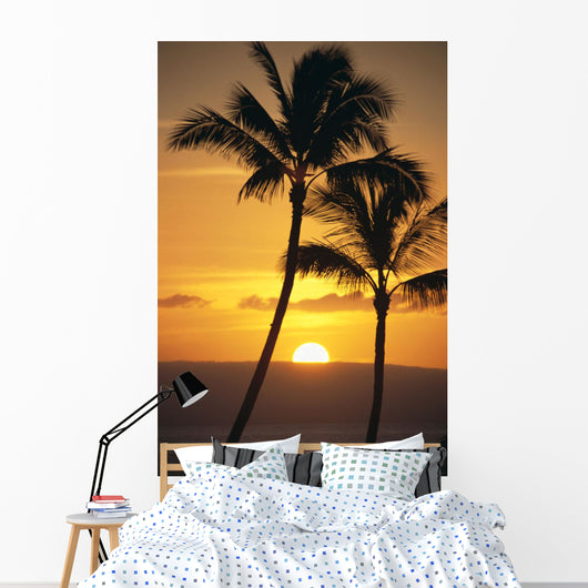 Two Palm Trees Silhouetted At Sunset Wall Mural