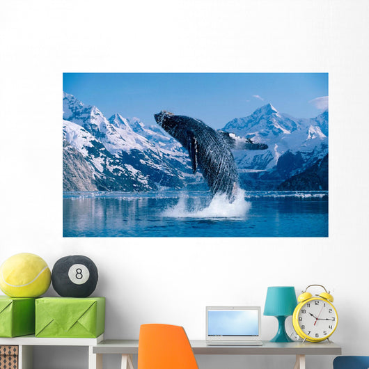[Dc] Humpback Whale Breaching Snowcapped Mountains Background C2040 Wall Mural