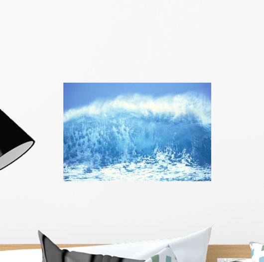 Huge Turquoise Wave Crashing Whitewash And Spray With Blue Skies C1709 Wall Mural