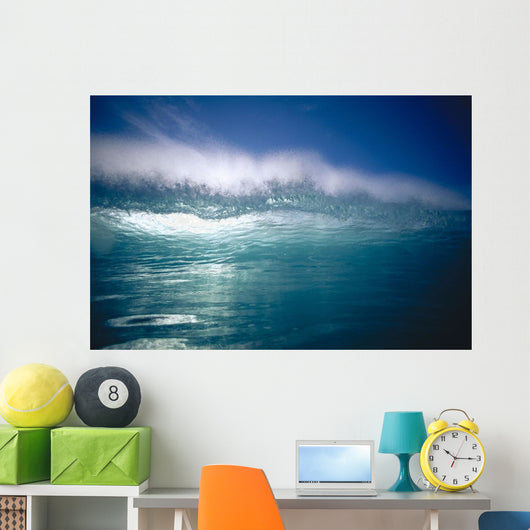 Green Wave With Wind Spray At Tips Wall Mural