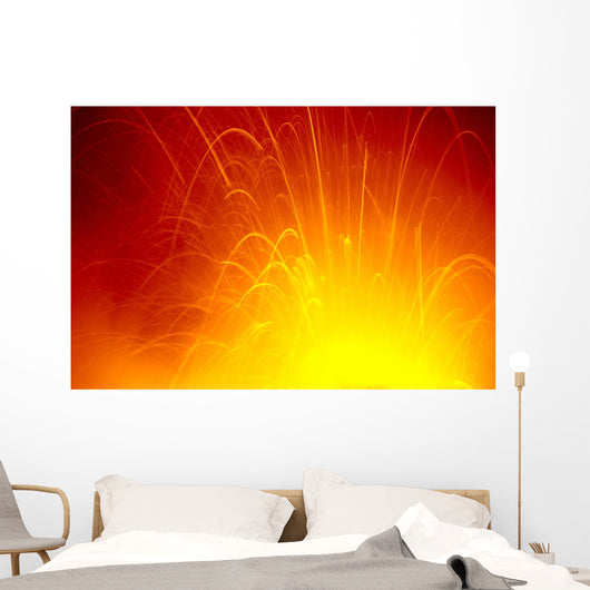 Red/Orange Lava Entering Ocean Exploding In Air C1636 Wall Mural