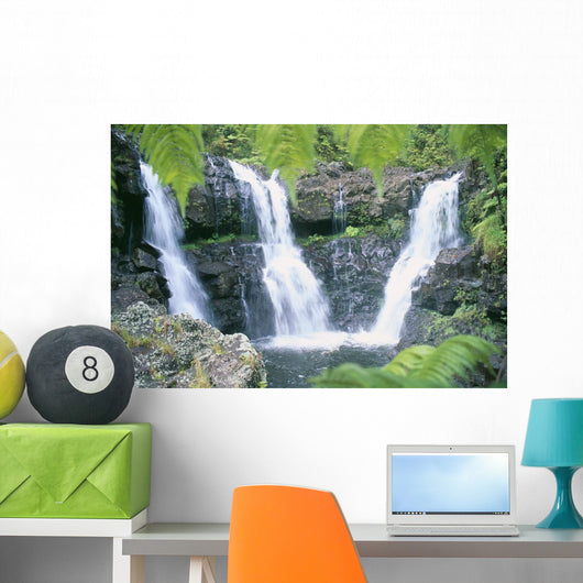 Three Waterfalls Feeds Into One Pool Wall Mural