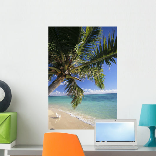 Distant View Of White Beach Chair Wall Mural