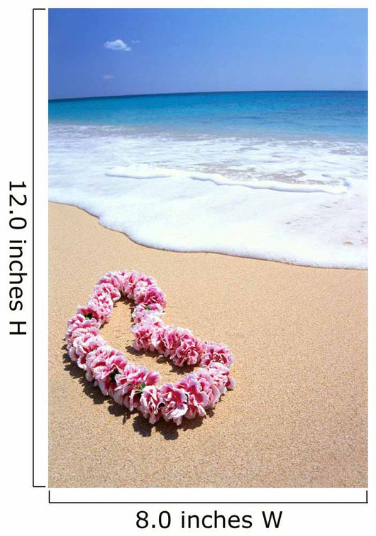 Pink Lei In Sand, Gentle Shore Waters, White Foam, Blue Ocean C1735 Wall Mural
