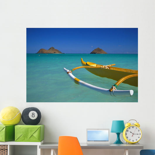 Outrigger Canoe In Turquoise Ocean Mokulua Islands Background D1418 Wall Mural