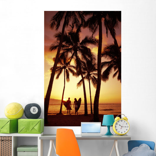 Palms At Sunset Golden Silhouette Wall Mural