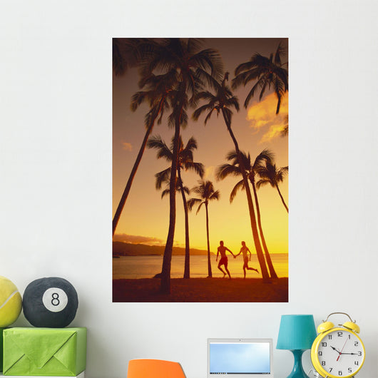 Couple Runs Together Holding Hands Wall Mural