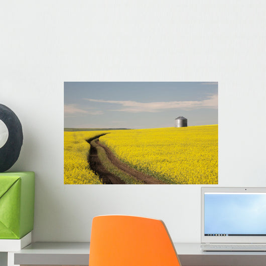 Flowering Canola With Grain Bins Wall Mural