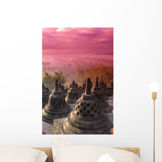 Indonesia, Java, View Of City At Pink Sunrise, Hazy Wall Mural