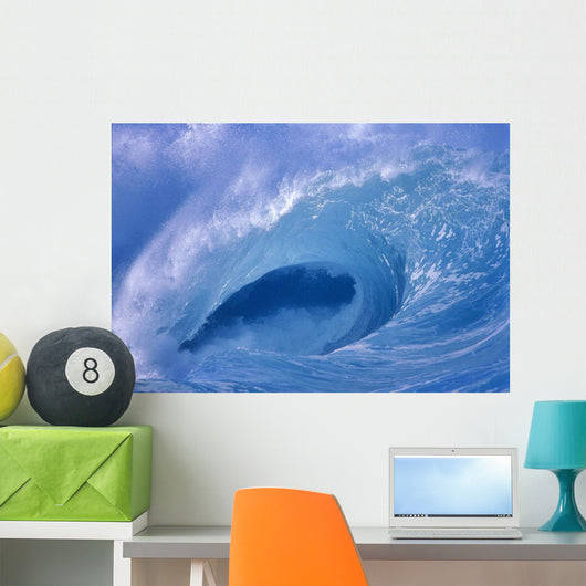 Side View Looking Through Curling Wave Powerful Winter Surf Wall Mural