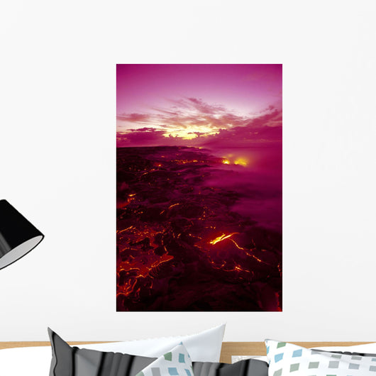 Kilauea Volcano Lava Flow At Dawn Glowing Pink Sky Smoky Wall Mural