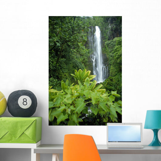 Cascading Surrounded By Lush Greenery Wall Mural