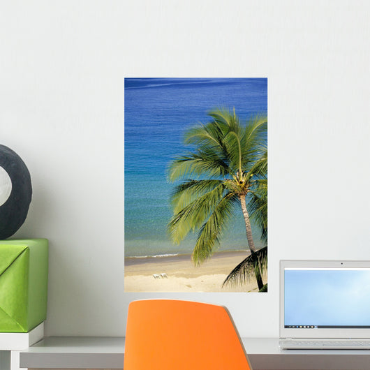 Tropical Beach With Palm Foreground, Beach Chair Distance Wall Mural