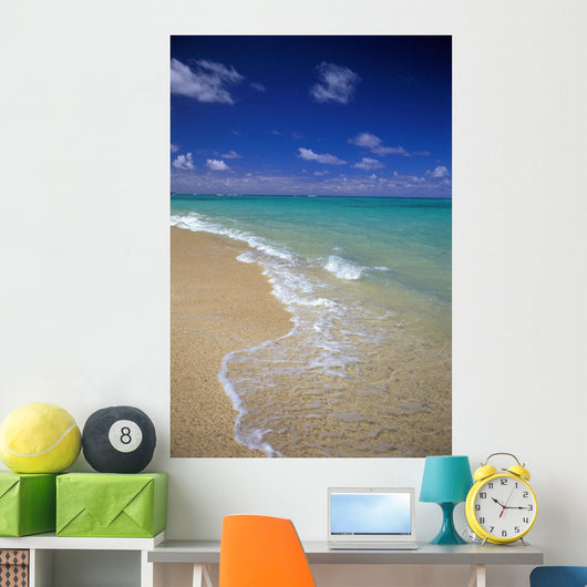 Hawaii, Oahu, Lanikai Beach Shoreline With Beautiful Turquoise Ocean Wall Mural