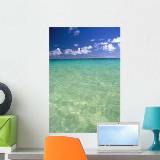 Calm Turquoise Ocean With Sandy Bottom Blue Sky And Clouds Wall Mural