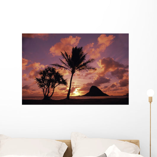 Mokoli'i Island At Sunrise Palm Tree Foreground Wall Mural