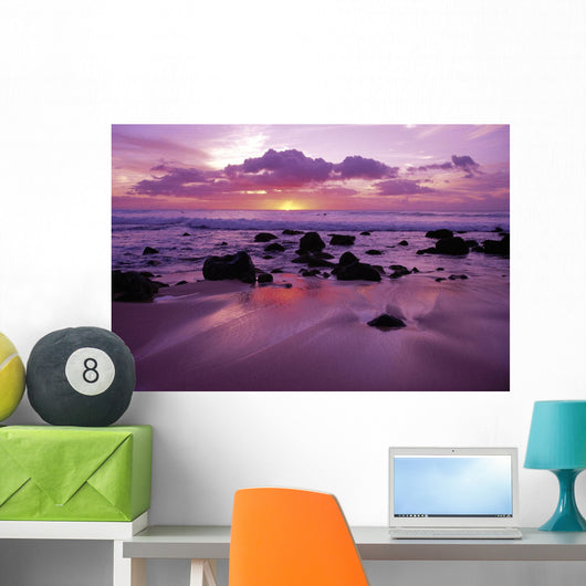 Hawaii, Molokai, West Shore Sunset On Horizon View From Shoreline Wall Mural