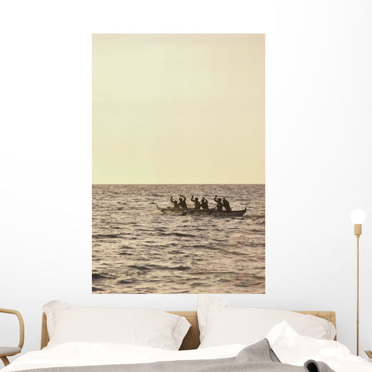 Paddlers Silhouetted On Ocean Wall Mural
